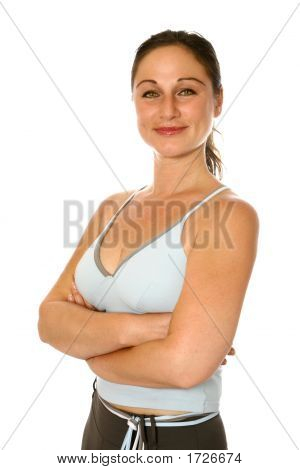 Active Woman In Sports Attire, Arms Crossed