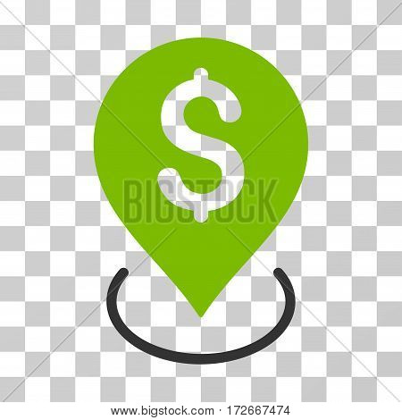 Bank Placement icon. Vector illustration style is flat iconic bicolor symbol eco green and gray colors transparent background. Designed for web and software interfaces.