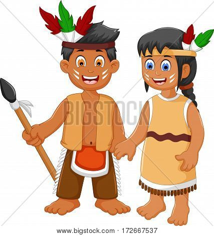 funny couple indian tribal cartoon for you design