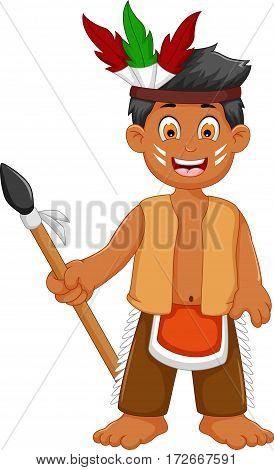 funny man indian tribal cartoon posing for you design