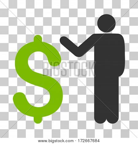 Banker icon. Vector illustration style is flat iconic bicolor symbol eco green and gray colors transparent background. Designed for web and software interfaces.