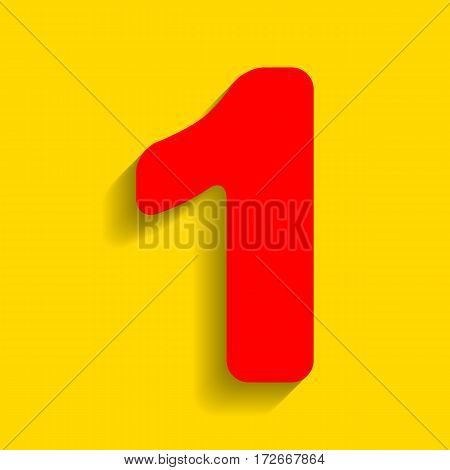 Number 1 sign design template element. Vector. Red icon with soft shadow on golden background.