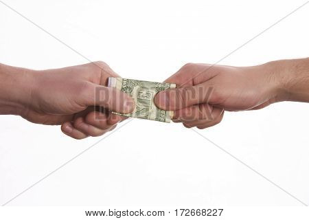 Giving a bribe. Money in hand.Concept - corruption.Isolated on White background.
