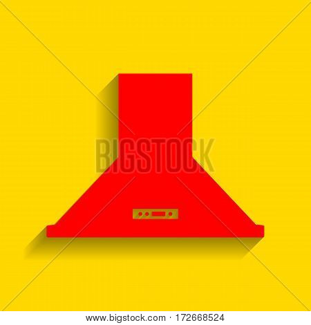 Exhaust hood. Kitchen ventilation sign. Vector. Red icon with soft shadow on golden background.