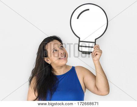 Woman Smiling Happiness Paper Craft Arts Light Bulb Ideas Studio Portrait