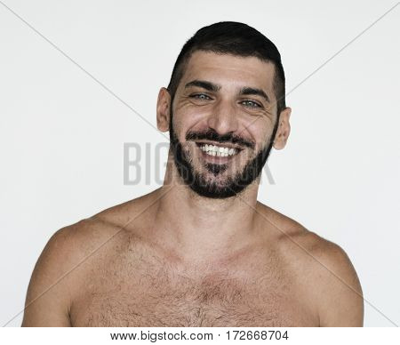 Middle Eastern Man Smiling Happiness Bare Chest Studio Portrait
