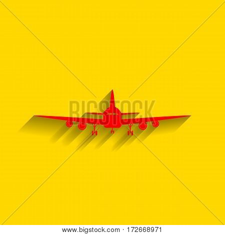Flying Plane sign. Front view. Vector. Red icon with soft shadow on golden background.