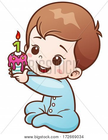 Vector Illustration of Cartoon Cute Baby holding Birthday cake one year