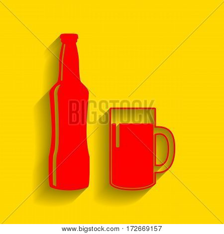 Beer bottle sign. Vector. Red icon with soft shadow on golden background.