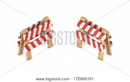 3d rendering of a white and red traffic chevron sign on a wooden stand in double-sided isometric view. Road safety. Construction. Traffic and transportation.