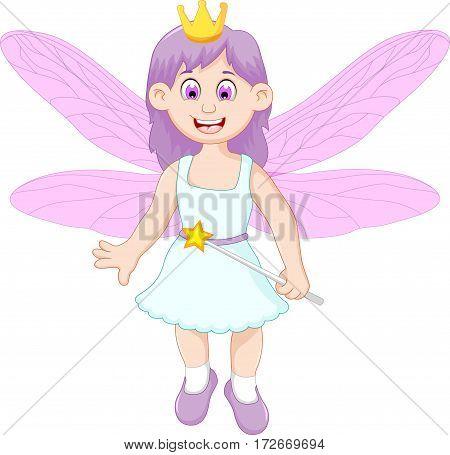 cute little fairy girl cartoon holding magic stick