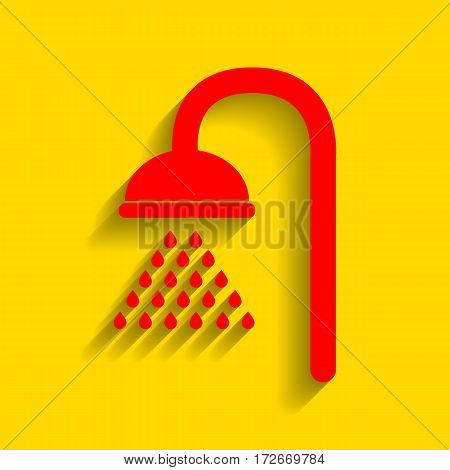 Shower sign. Vector. Red icon with soft shadow on golden background.
