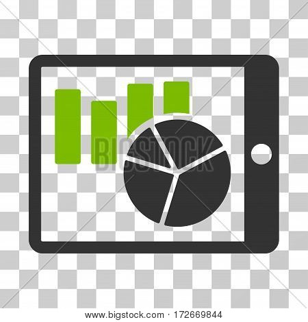 Charts On PDA icon. Vector illustration style is flat iconic bicolor symbol eco green and gray colors transparent background. Designed for web and software interfaces.