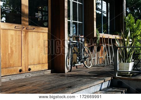 Bicycle Parked Outside Shop