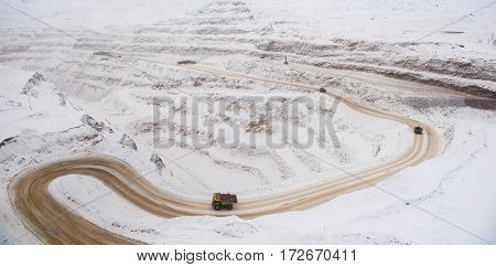 Big career. Gold mining. Panoramic view at winter time.