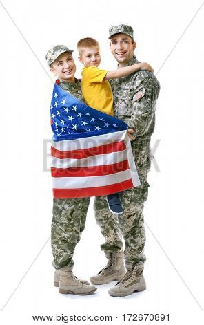 Military family reunited on white background