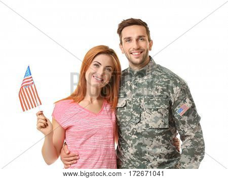 Soldier with his girlfriend on white background