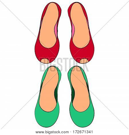 set of two pairs of women's shoes without heels isolated sketch illustration hand drawn in color