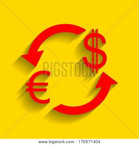 Currency exchange sign. Euro and Dollar. Vector. Red icon with soft shadow on golden background.