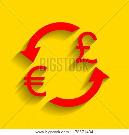 Currency exchange sign. Euro and UK Pound. Vector. Red icon with soft shadow on golden background.
