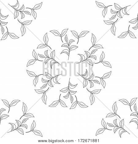 Green tea leaf illustration branch organic hand drawing sketch seamless pattern wreath closeup