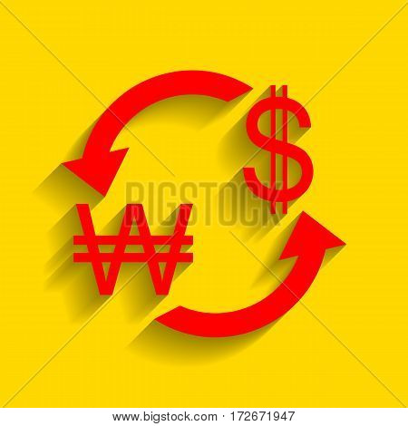 Currency exchange sign. South Korea Won and US Dollar. Vector. Red icon with soft shadow on golden background.