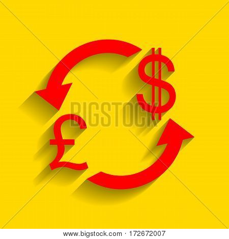 Currency exchange sign. UK: Pound and US Dollar. Vector. Red icon with soft shadow on golden background.