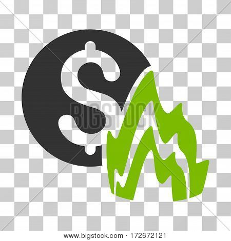 Fire Disaster Price icon. Vector illustration style is flat iconic bicolor symbol eco green and gray colors transparent background. Designed for web and software interfaces.