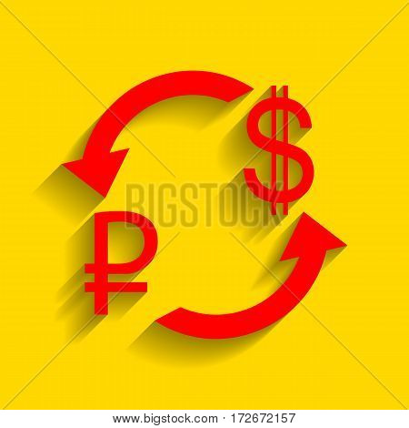 Currency exchange sign. Rouble and US Dollar Vector. Red icon with soft shadow on golden background.