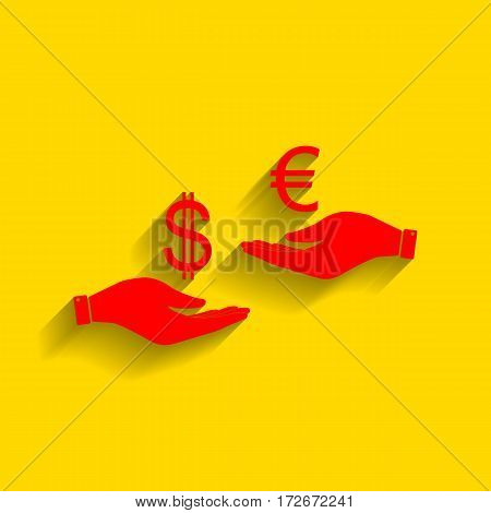 Currency exchange from hand to hand. Dollar adn Euro. Vector. Red icon with soft shadow on golden background.