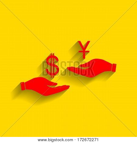 Currency exchange from hand to hand. Dollar and Yuan. Vector. Red icon with soft shadow on golden background.
