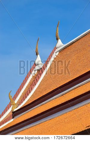 Thai Temple Roof With Clear Blue Sky