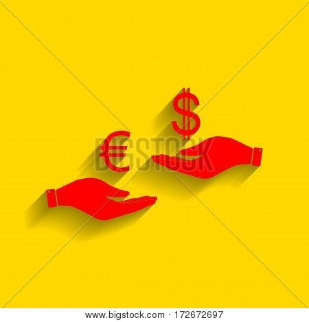 Currency exchange from hand to hand. Euro and Dollar. Vector. Red icon with soft shadow on golden background.