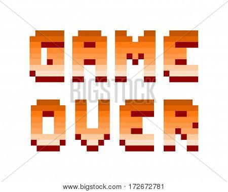 Pixel retro font video computer game design 8 bit letters and numbers electronic futuristic style. Vector game over typeface digital creative alphabet.
