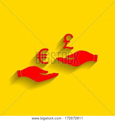 Currency exchange from hand to hand. Euro and Puond. Vector. Red icon with soft shadow on golden background.