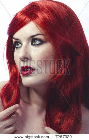 Beautiful Spanish woman in lace dress and great red hair, romantic or medieval style