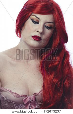 Make-up, Beautiful Spanish woman in lace dress and great red hair, romantic or medieval style