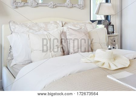 Luxury Bedroom Interior With Pillow On Bed And Classic Style Table Lamp