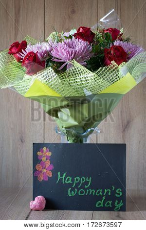 8 march - Colorful Vernal Flowers Bouquet Arrangement in Vase - Greeting Card