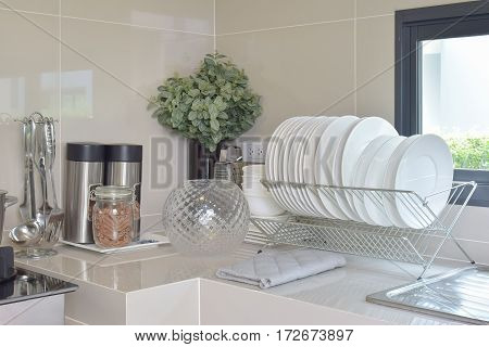 Modern Pantry With Utensil And Sink In Kitchen