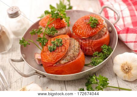 baked tomato filled with meat