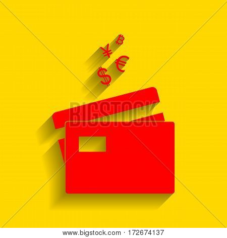 Credit cards sign with currency symbols. Vector. Red icon with soft shadow on golden background.