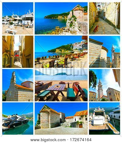 View on Budva old town and citadel at sunny day. Ancient old fortress. Collage