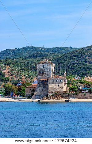 beautiful sea view of Phospfori tower in Ouranopolis, Athos Peninsula, Mount Athos, Chalkidiki, Greece