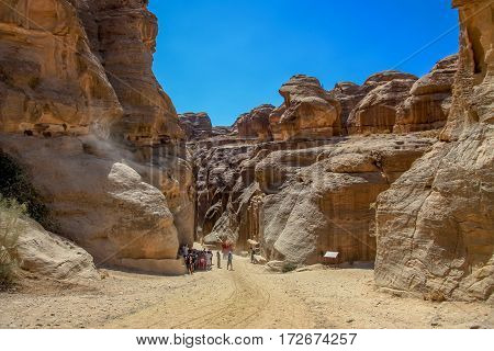 Entrance to canyon Siq passage in Petra, Jordan