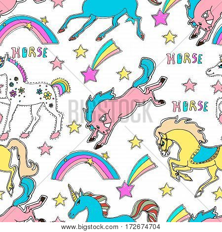 Vector hand drawn cute seamless background. Magic stars horses unicorns pony . Colorful pattern.