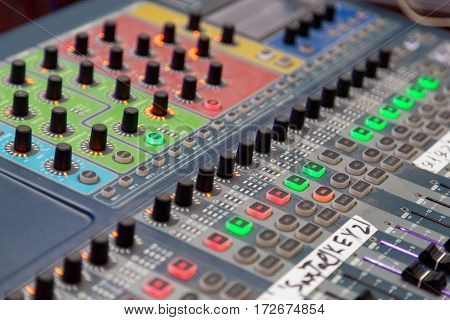 Large Music Mixing desk equipment for sound control buttons equipment for sound mixer control.