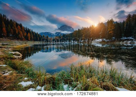 Great view of the foggy lake Antorno in National Park Tre Cime di Lavaredo. Dramatic and picturesque scene. Location place Auronzo, Misurina, Dolomiti alps, South Tyrol, Italy, Europe. Beauty world.