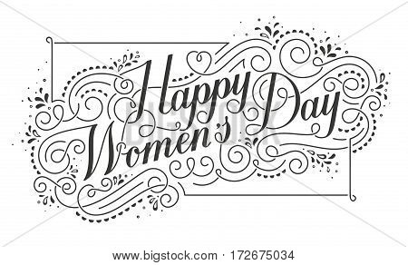 Happy Womens Day Calligraphic Text Design Element. Greeting card for 8 March. EPS10 vector illustration.