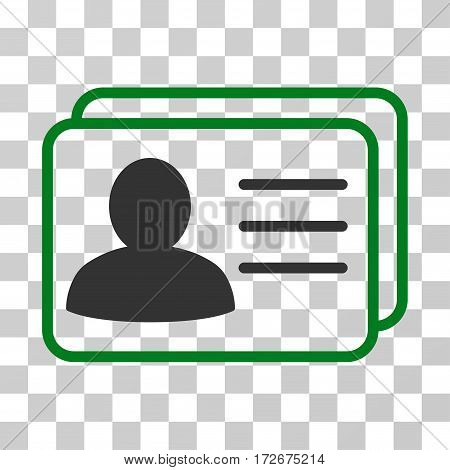 Account Cards icon. Vector illustration style is flat iconic bicolor symbol green and gray colors transparent background. Designed for web and software interfaces.